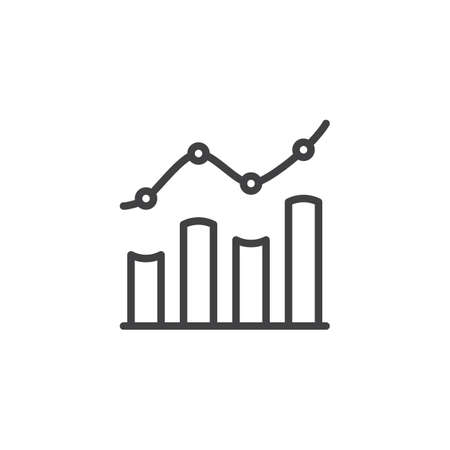 Bar chart line icon. linear style sign for mobile concept and web design. Growth, increase chart statistic outline vector icon. Symbol, logo illustration. Pixel perfect vector graphics