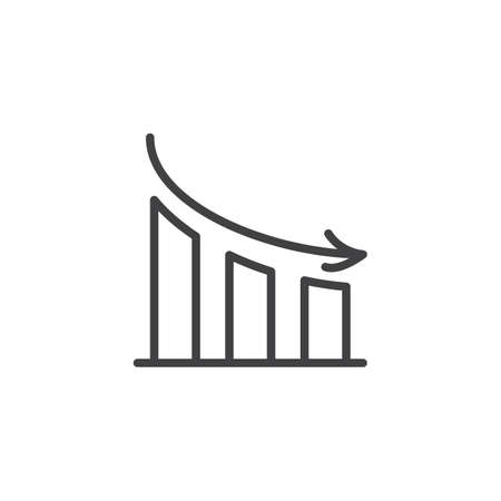 Decline graph line icon. linear style sign for mobile concept and web design. Graph down outline vector icon. Symbol, logo illustration. Pixel perfect vector graphics