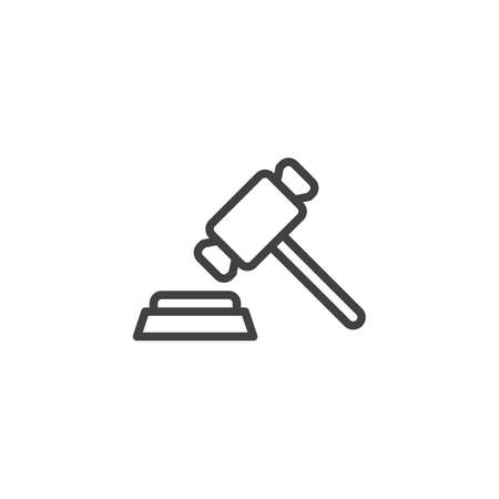 Judge gavel line icon. linear style sign for mobile concept and web design. Auction hammer outline vector icon. Symbol, logo illustration. Pixel perfect vector graphics