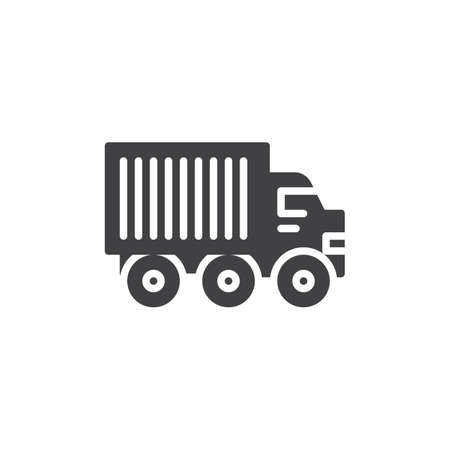 Lorry truck vector icon. filled flat sign for mobile concept and web design. Delivery truck glyph icon. Construction machines symbol, logo illustration. Pixel perfect vector graphics