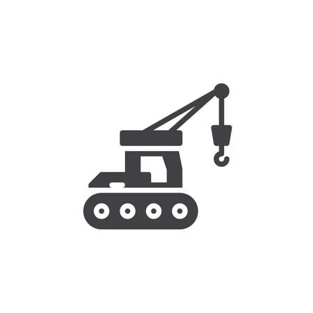 Hydraulic crawler crane vector icon. filled flat sign for mobile concept and web design. Crawler crane glyph icon. Construction machine symbol, logo illustration. Pixel perfect vector graphics 向量圖像