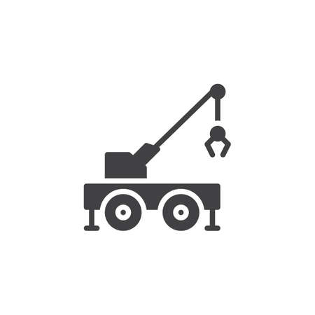 Mobile crane truck vector icon. filled flat sign for mobile concept and web design. Carry crane glyph icon. Construction machine symbol, logo illustration. Pixel perfect vector graphics