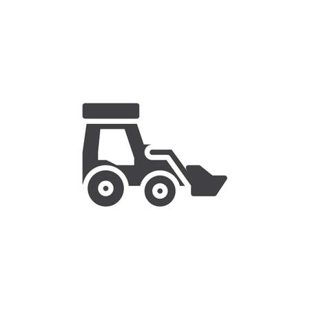 Front loader vector icon. filled flat sign for mobile concept and web design. Bulldozer truck glyph icon. Construction machine symbol, logo illustration. Pixel perfect vector graphics