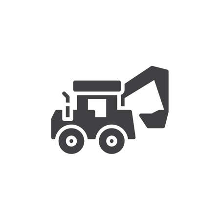 Tractor loader vector icon. filled flat sign for mobile concept and web design. Excavator truck glyph icon. Construction machine symbol, logo illustration. Pixel perfect vector graphics