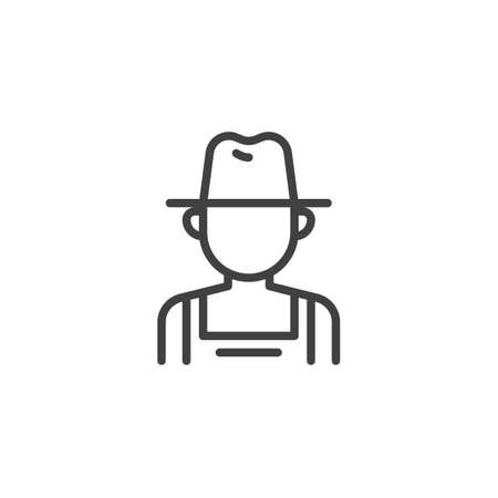 Farmer man line icon. linear style sign for mobile concept and web design. Gardener worker outline vector icon. Faceless people avatar symbol, logo illustration. Pixel perfect vector graphics Vectores