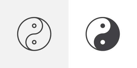 Yin yang icon. line and glyph version, outline and filled vector sign. Zen linear and full pictogram. Symbol, logo illustration. Different style icons set