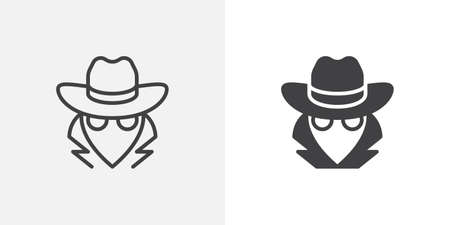 Spy, agent icon. line and glyph version, outline and filled vector sign. Detective with hat linear and full pictogram. Symbol, logo illustration. Different style icons set