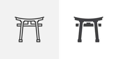Torii gate icon. line and glyph version, outline and filled vector sign. Shinto Shrine linear and full pictogram. Symbol, logo illustration. Different style icons set Illustration