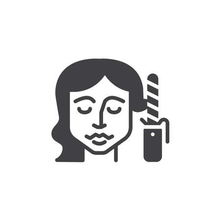 Hair curling vector icon. filled flat sign for mobile concept and web design. Woman styling her hair with curling iron glyph icon. Symbol, logo illustration. Pixel perfect vector graphics