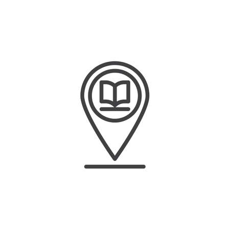 Library placeholder line icon. linear style sign for mobile concept and web design. Map marker with book outline vector icon. Symbol, logo illustration. Pixel perfect vector graphics