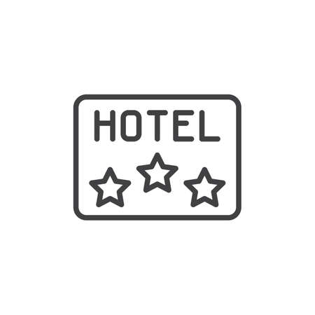 Three star Hotel apartment sign line icon. linear style sign for mobile concept and web design. Hotel rating stars outline vector icon. Symbol, logo illustration. Pixel perfect vector graphics