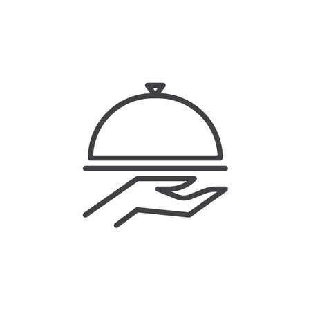 Food Cover On Hand line icon. linear style sign for mobile concept and web design. Restaurant cloche outline vector icon. Hotel service symbol, logo illustration. Pixel perfect vector graphics