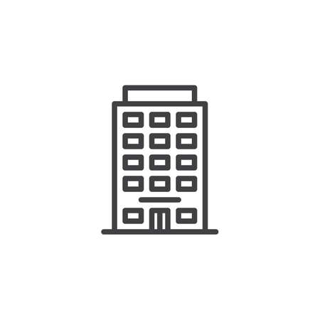 Hotel building line icon. linear style sign for mobile concept and web design. Office architecture outline vector icon. Travel symbol, logo illustration. Pixel perfect vector graphics
