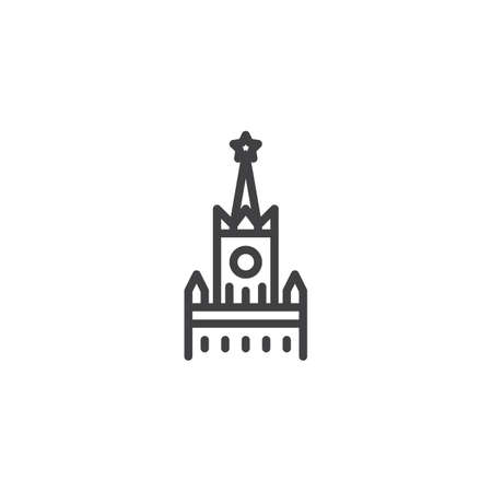 Kremlin building line icon. linear style sign for mobile concept and web design. Spasskaya Tower outline vector icon. Moscow travel symbol, logo illustration. Pixel perfect vector graphics