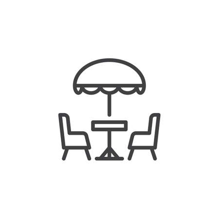Terrace cafe line icon. linear style sign for mobile concept and web design. Camping table and chairs outline vector icon. Symbol, logo illustration. Pixel perfect vector graphics Illustration
