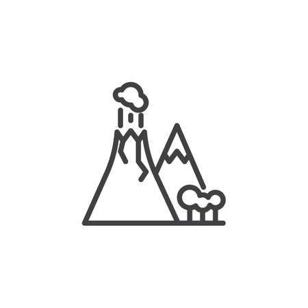 Volcano eruption line icon. linear style sign for mobile concept and web design. Volcano with smoke outline vector icon. Travel symbol, logo illustration. Pixel perfect vector graphics
