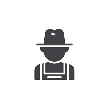 Farmer man vector icon. filled flat sign for mobile concept and web design. Gardener worker glyph icon. Faceless people avatar symbol, logo illustration. Pixel perfect vector graphics