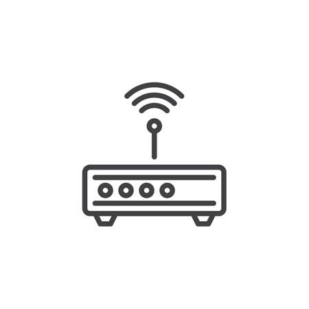 Wi-Fi Router line icon. linear style sign for mobile concept and web design. wifi modem antenna signal outline vector icon. Symbol, logo illustration. Pixel perfect vector graphics Illusztráció