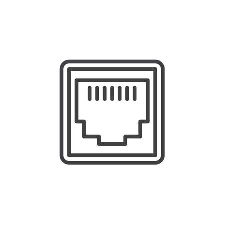 LAN network port line icon. linear style sign for mobile concept and web design. Ethernet port socket outline vector icon. Local area connector symbol, logo illustration. Pixel perfect vector graphics