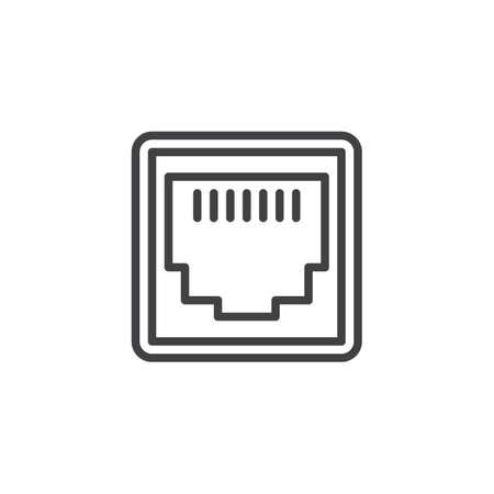 Symbol für die Leitung des LAN-Netzwerkports. Lineares Zeichen für mobiles Konzept und Webdesign. Ethernet-Port-Socket-Umriss-Vektor-Symbol. Symbol für den lokalen Anschluss, Logo-Abbildung. Pixelperfekte Vektorgrafiken Logo