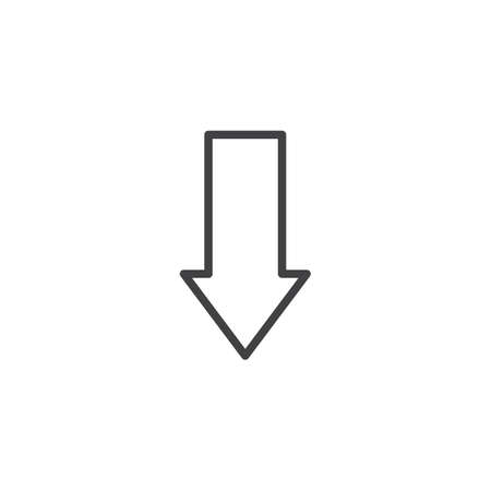 Arrow down point line icon. linear style sign for mobile concept and web design. Download arrow outline vector icon. Symbol, logo illustration. Pixel perfect vector graphics 일러스트