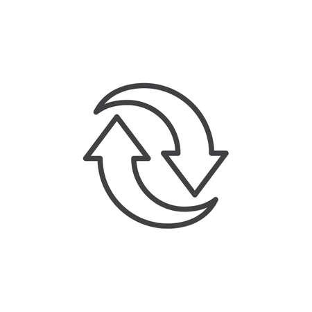 Icône de ligne de deux flèches circulaires. signe de style linéaire pour le concept mobile et la conception Web. Synchroniser l'icône de vecteur de contour de flèches. Symbole, illustration du logo. Pixel graphiques vectoriels parfaits