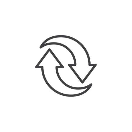 Two circular arrows line icon. linear style sign for mobile concept and web design. Synchronize arrows outline vector icon. Symbol, logo illustration. Pixel perfect vector graphics