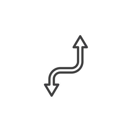 Up and down curved arrow line icon. linear style sign for mobile concept and web design. Two way arrows outline vector icon. Symbol, logo illustration. Pixel perfect vector graphics