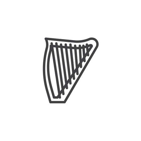 Harp line icon. linear style sign for mobile concept and web design. Lyre outline vector icon. Musical instrument symbol, logo illustration. Pixel perfect vector graphics Vectores