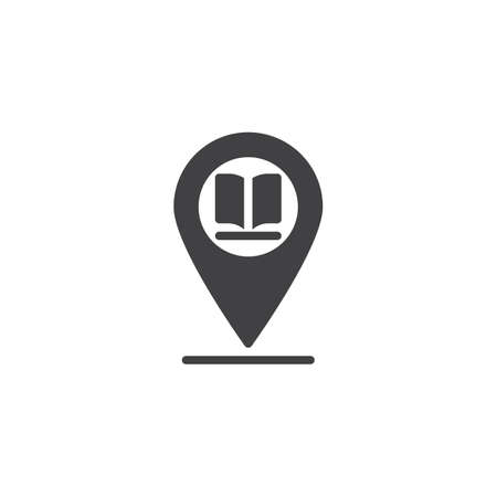 Library placeholder vector icon. filled flat sign for mobile concept and web design. Map marker with book glyph icon. Symbol, logo illustration. Pixel perfect vector graphics