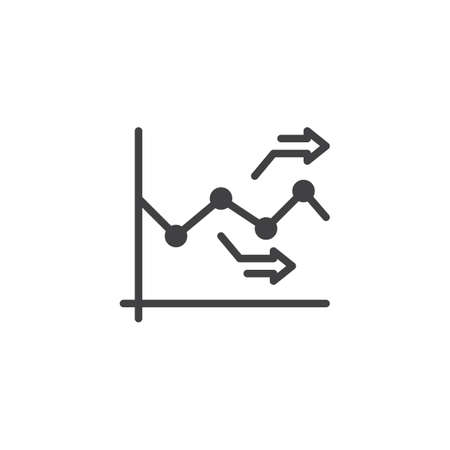 Chart graph arrows vector icon. filled flat sign for mobile concept and web design. Growth diagram glyph icon. Symbol, logo illustration. Pixel perfect vector graphics