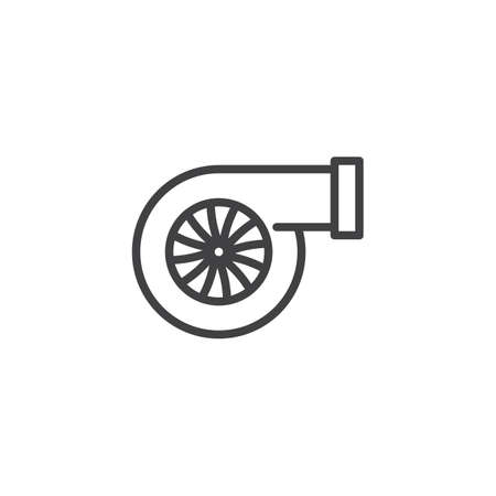 Car turbo line icon. linear style sign for mobile concept and web design. Turbocharger automotive part outline vector icon. Symbol, logo illustration. Pixel perfect vector graphics Illustration