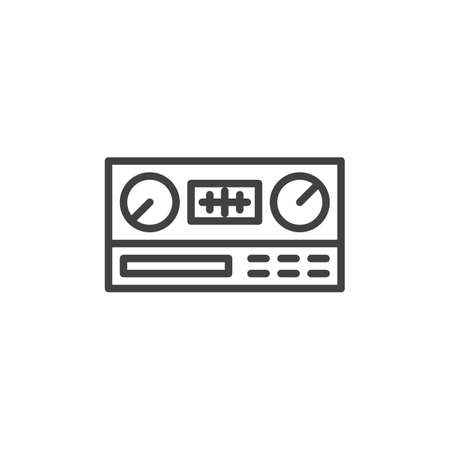 Icône de ligne d'autoradio. signe de style linéaire pour le concept mobile et la conception Web. Icône de vecteur de contour de récepteur radio. Symbole, illustration du logo. Pixel graphiques vectoriels parfaits
