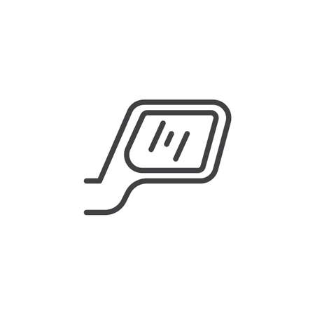 Car rearview mirror line icon. linear style sign for mobile concept and web design. Car mirror outline vector icon. Symbol, logo illustration. Pixel perfect vector graphics