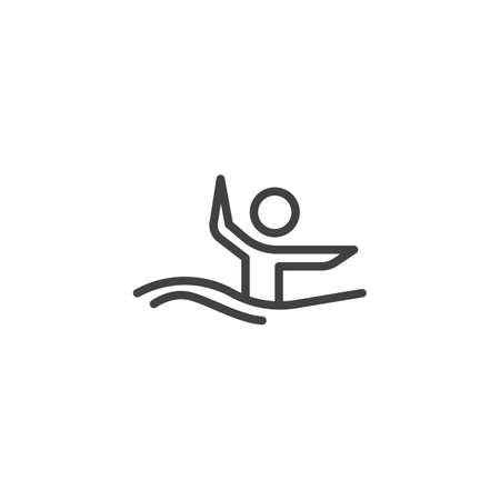 Synchronized swimming athlete line icon. linear style sign for mobile concept and web design. Water sports outline vector icon. Symbol, logo illustration. Pixel perfect vector graphics Stock Illustratie