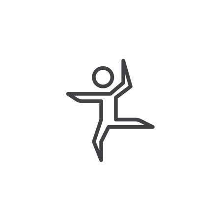 Ballet dancer dancing line icon. linear style sign for mobile concept and web design. Ballerina outline vector icon. Symbol, logo illustration. Pixel perfect vector graphics Vectores