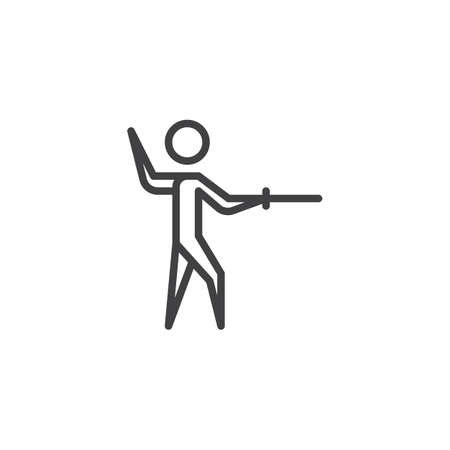 Fencing man line icon. linear style sign for mobile concept and web design. Athlete training fencing sport outline vector icon. Symbol, logo illustration. Pixel perfect vector graphics