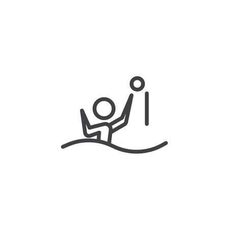 Water polo player line icon. linear style sign for mobile concept and web design. Athlete playing water polo outline vector icon. Summer sports game symbol, logo illustration. Pixel perfect vector