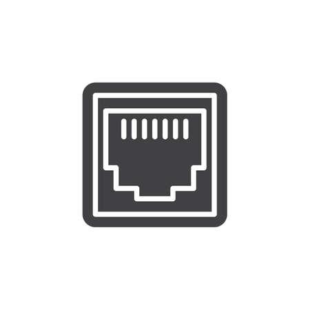 Icono de vector de puerto de red LAN. signo plano lleno para concepto móvil y diseño web. Icono de glifo de socket de puerto Ethernet. Símbolo, ilustración de logotipo. Gráficos vectoriales perfectos para píxeles Logos