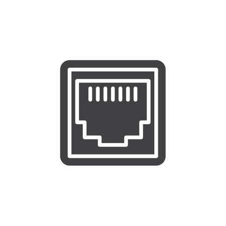 LAN network port vector icon. filled flat sign for mobile concept and web design. Ethernet port socket glyph icon. Symbol, logo illustration. Pixel perfect vector graphics