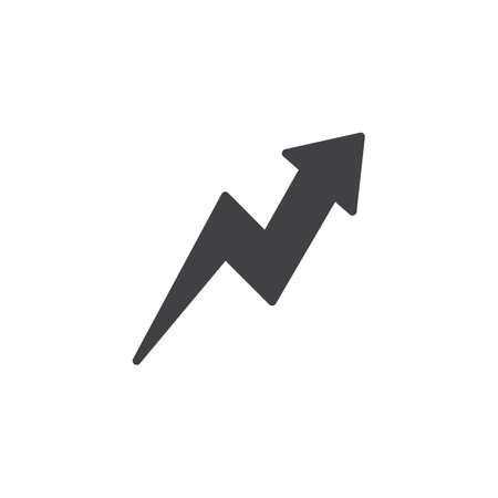 Zig-Zag up arrow vector icon. filled flat sign for mobile concept and web design. Arrow upward glyph icon. Symbol, logo illustration. Pixel perfect vector graphics Illustration