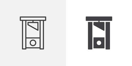 Guillotine icon. line and glyph version, outline and filled vector sign. Justice, guillotine linear and full pictogram. Symbol, logo illustration. Different style icons set