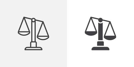 Justice scale icon. line and glyph version, outline and filled vector sign. Scales balance linear and full pictogram. Symbol, logo illustration. Different style icons set