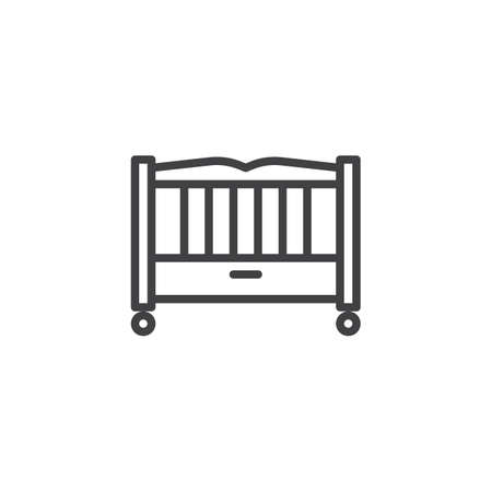 Baby bed line icon. linear style sign for mobile concept and web design. Baby crib outline vector icon. Child cradle symbol, logo illustration. Pixel perfect vector graphics Illustration