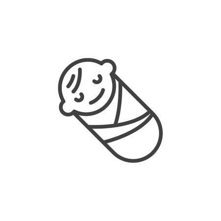 Icône de ligne bébé bébé emmailloté. signe de style linéaire pour le concept mobile et la conception Web. Icône de vecteur de contour enfant nouveau-né endormi. Symbole, illustration du logo. Pixel graphiques vectoriels parfaits Logo