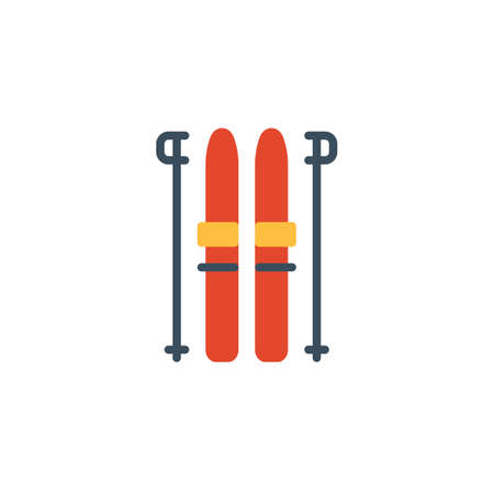 Ski and sticks flat icon, vector sign, colorful pictogram isolated on white. Winter sport symbol, logo illustration. Flat style design Banque d'images - 119200506