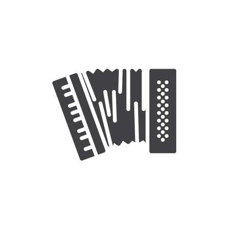 Akkordeon-Vektor-Symbol. gefülltes flaches Schild für mobiles Konzept und Webdesign. Symbol für harmonische Glyphen. Musikinstrumentensymbol, Logoillustration. Pixelperfekte Vektorgrafiken