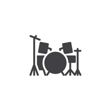 Drum kit vector icon. filled flat sign for mobile concept and web design. Drum set glyph icon. Symbol, logo illustration. Pixel perfect vector graphics