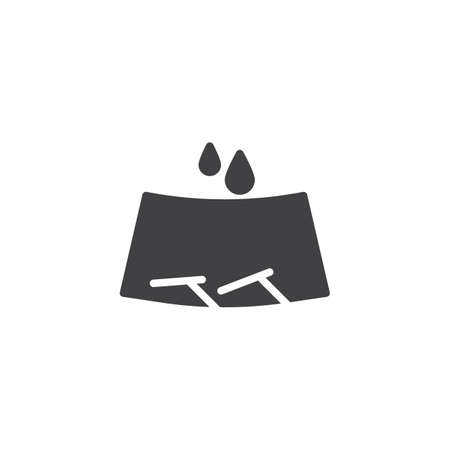 Windscreen wipers and rain drops vector icon. filled flat sign for mobile concept and web design. Car windshield glyph icon. Symbol, logo illustration. Pixel perfect vector graphics Foto de archivo - 119491985