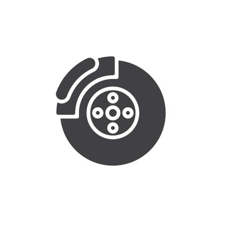 Car brake disc vector icon. filled flat sign for mobile concept and web design. Brake shoe glyph icon. Symbol, logo illustration. Pixel perfect vector graphics Vectores